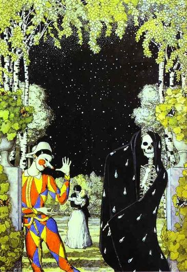 "Constantin Somov ""Harlequin and Death"" 1907"